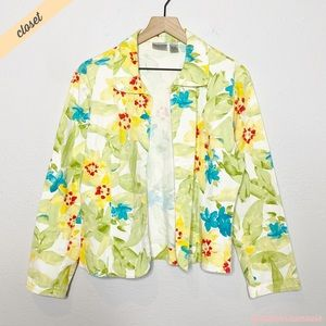 [Chico's] Green Yellow Floral Watercolor Jacket